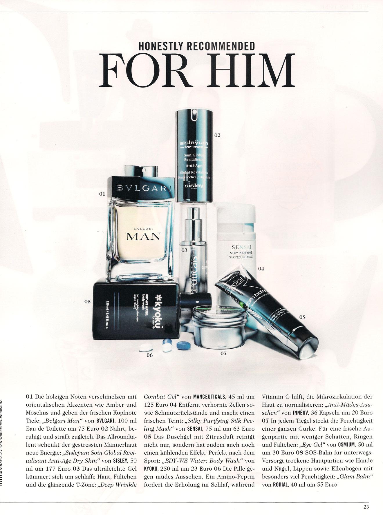 Kyoku for Men, Manceuticals und Osmium for Men in Tush